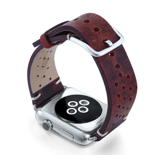 Promise-AW-red-calf-leather-band-with-holes-and-case-on-back