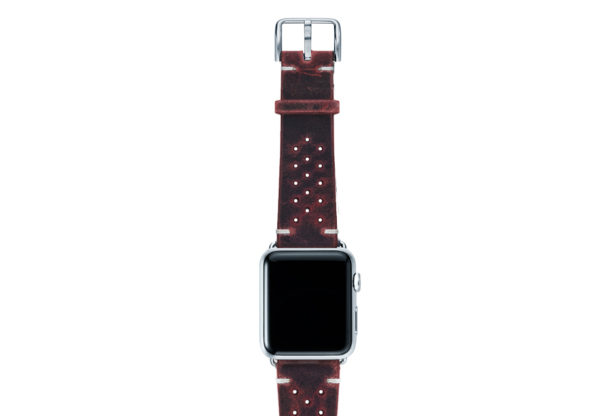 Promise-AW-red-calf-leather-band-with-holes-and-case-silver