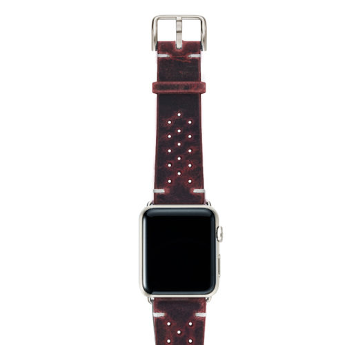 Promise-AW-red-calf-leather-band-with-holes-and-case-stainless