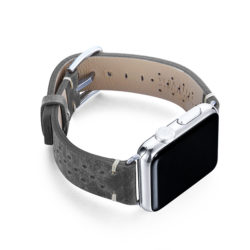 Stronger-AW-grey-calf-leather-band-with-holes-and-case-on-right
