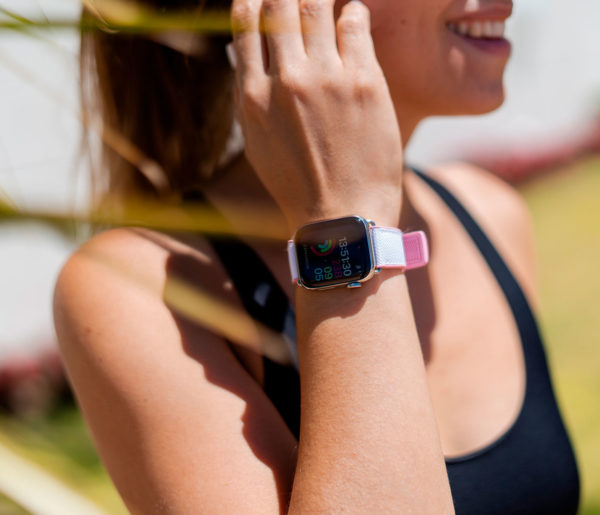 Pink-Sand-Apple-watch-rubber-band-with-swimming-underwear