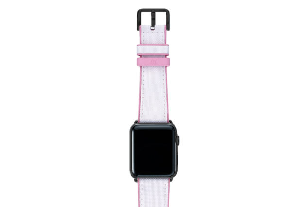 Pink Sand AW white rubber band on top of stainless black case