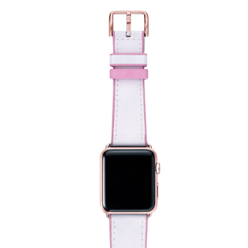 Pink Sand AW white rubber band on top of rose gold case