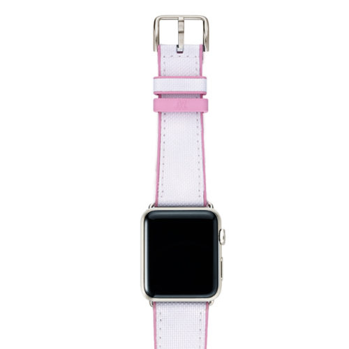 Pink Sand AW white rubber band on top of stainless steel case