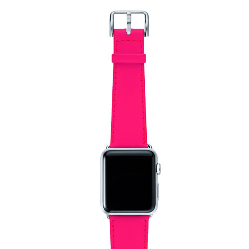 Iced-Watermelon-AW-pink-fluo-nappa-band-with-case-alumnium-silver