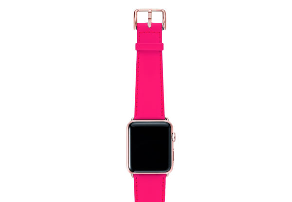 Iced-Watermelon-AW-pink-fluo-nappa-band-with-case-rose-gold