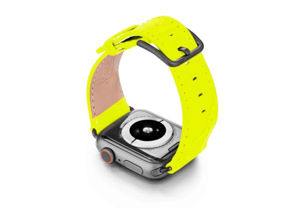 laser-lemon-Apple-watch-fluo-band-with-case-on-back