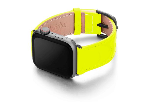 laser-lemon-Apple-watch-fluo-band-with-case-on-left