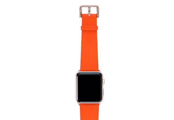 Flamingo Mango Apple watch orange fluo nappa band with aluminum gold case