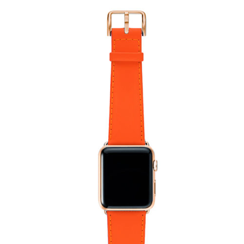 Flamingo Mango Apple watch orange fluo nappa band with stainless gold case