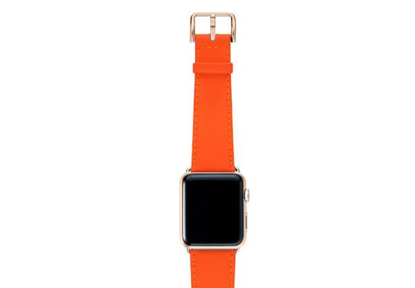 Flamingo Mango Apple watch orange fluo nappa band with gold series 3 case