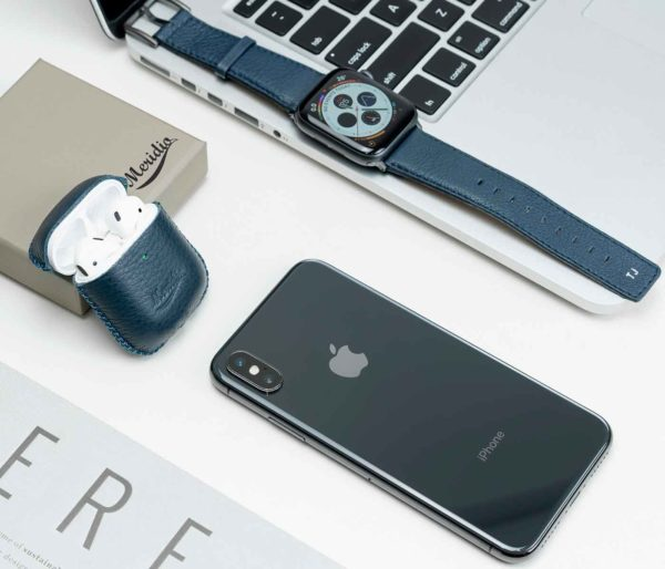 Apple-combo-blue-leather-accessories-with-monogram-close-to-IphoneX-bs