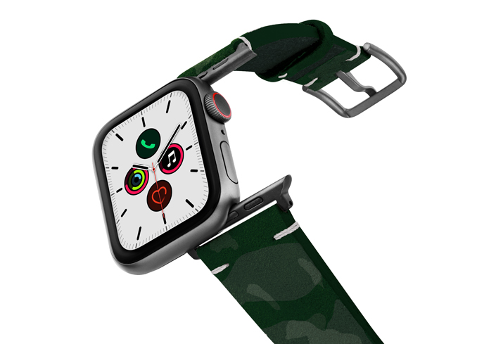 Grren-Guerilla-Apple-watch-suede-camouflage-leatehr-band-with-space-grey-adapters-on-air