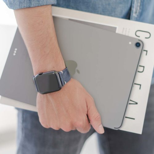 Moon-Sky-AW-blue-ancient-leather-band-for-him-keeping-a-tablet