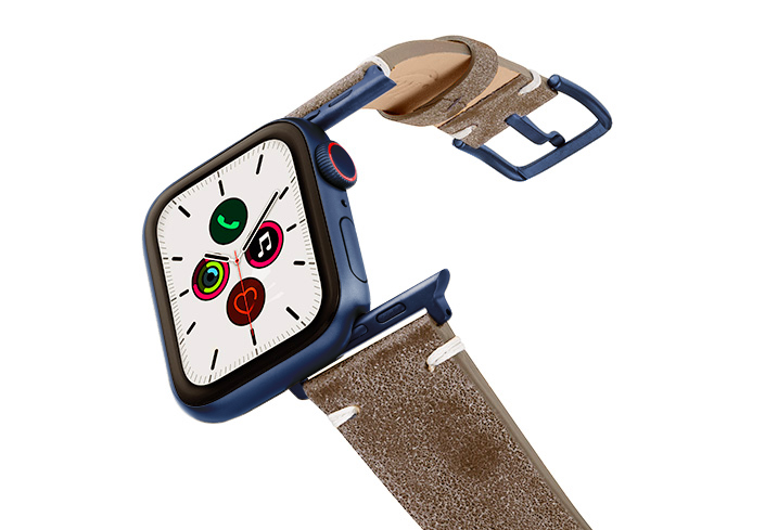 Muted-Stone-AW-grey-ancient-leather-band-on-air-with-blue-adapters