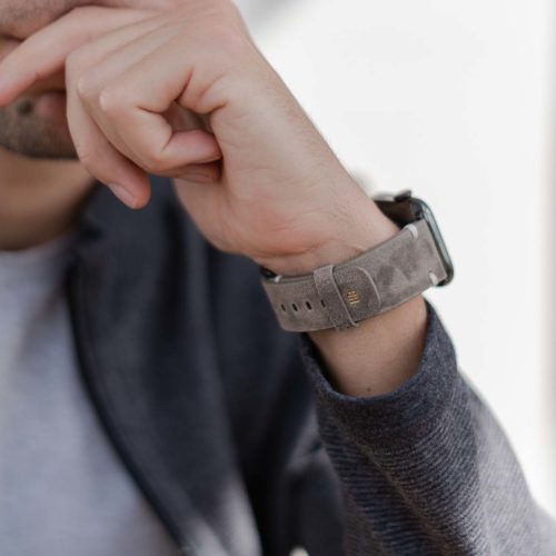 Muted-Stone-AW-light-grey-ancient-leather-band-with-monogram-for-him
