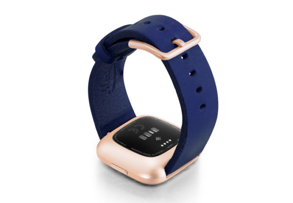 Blue-England-Fitbit-Watch-full-grain-leather-band-with-rose-aluminium-back-case