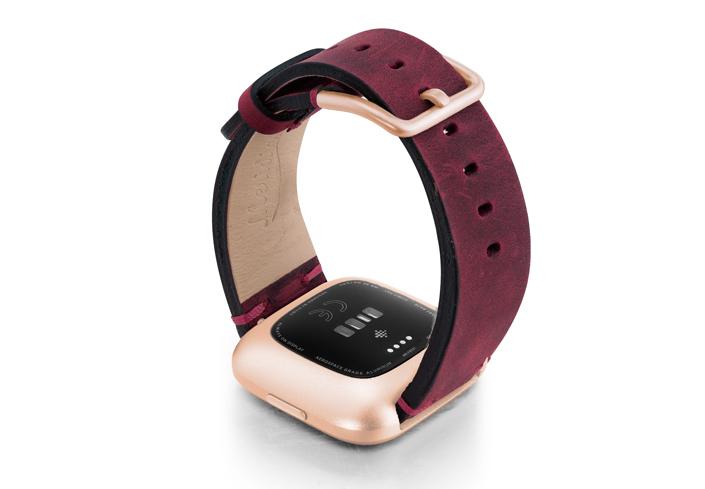 Colonial-Red-Fitbit-vintage-leather-band-with-back-rose-aluminium-case