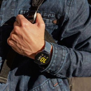 Galaxy-watch-active-Arctic-night-blue-vintage-leatehr-band-with-ajeans-sportwear-for-him