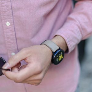 Galaxy-watch-active-grey-leather-band-with-a-pink-shirt-for-him