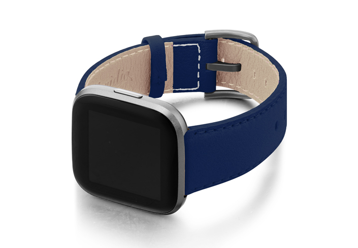 Mediterranean-Blue-Fitbit-nappa-band-with-case-on-left