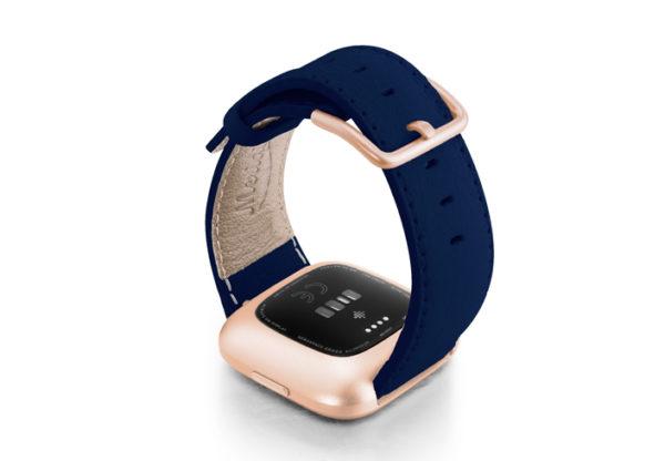 Mediterranean-Blue-Fitbit-nappa-band-with-rose-aluminium-case