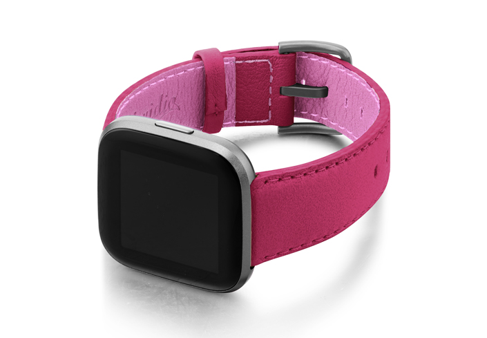 Scarlets-Velvet-Fitbit-nappa-leather-band-with-case-on-left