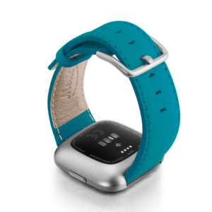 Turquoise-Fitbit-nappa-leather-band-with-back-case