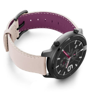 Amazfit-GTR-angel-whisper-nappa-leather-band-with-display-on-right