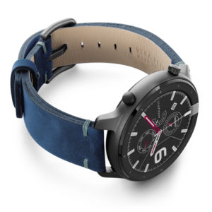 Amazfit-GTR-arctic-blue-vintage-leather-band-with-display-on-right