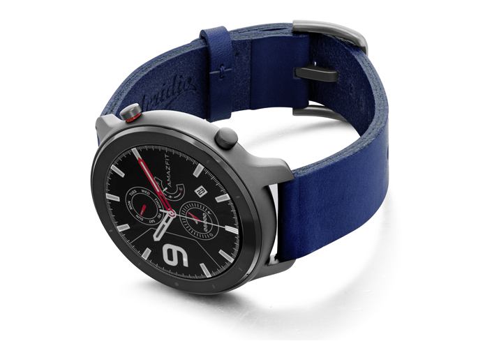 Amazfit-GTR-blue-england-clay-leather-band-with-display-on-left