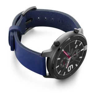 Amazfit-GTR-blue-england-clay-leather-band-with-display-on-right
