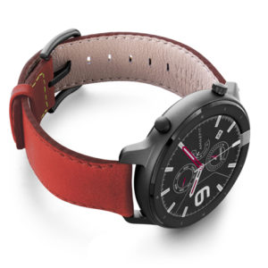 Amazfit-GTR-coral-nappa-leather-band-with-display-on-right