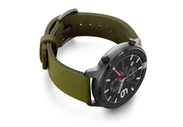 Amazfit-GTR-deep-leaf-clay-leather-band-with-display-on-right
