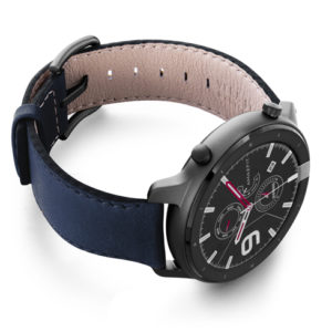Amazfit-GTR-mediterranean-blue-nappa-leather-band-with-displey-on-right