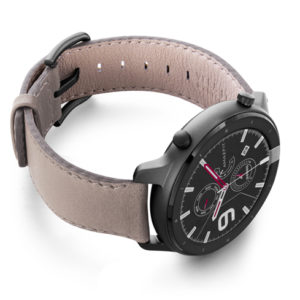 Amazfit-GTR-pottery-grey-leather-band-with-display-on-right