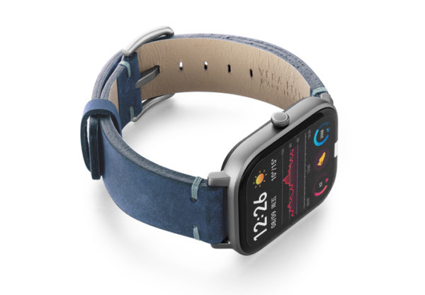 Amazfit-GTS-artic-blue-vintage-leather-band-with-display-on-right