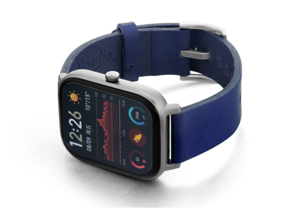 Amazfit-GTS-blue-england-clay-leather-band-with-display-on-left