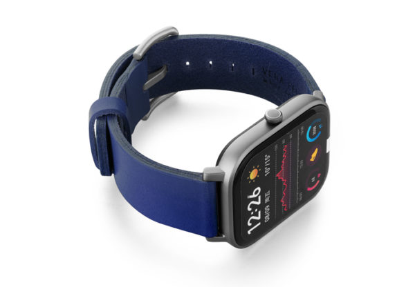 Amazfit-GTS-blue-england-clay-leather-band-with-display-on-right