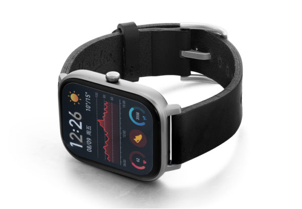 Amazfit-GTS-cassel-clay-leather-band-with-displey-on-left