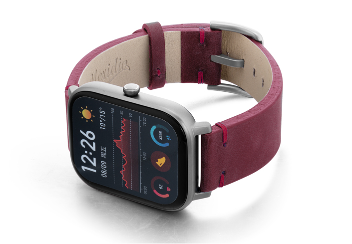 Amazfit-GTS-colonial-red-vintage-leather-band-with-display-on-left