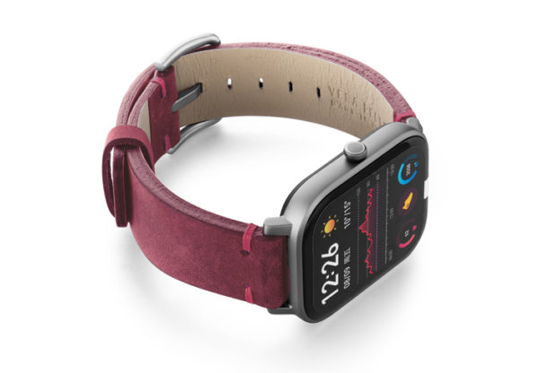 Amazfit-GTS-colonial-red-vintage-leather-band-with-display-on-right