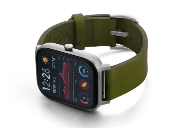Amazfit-GTS-deep-leaf-clay-leather-band-with-displey-on-left