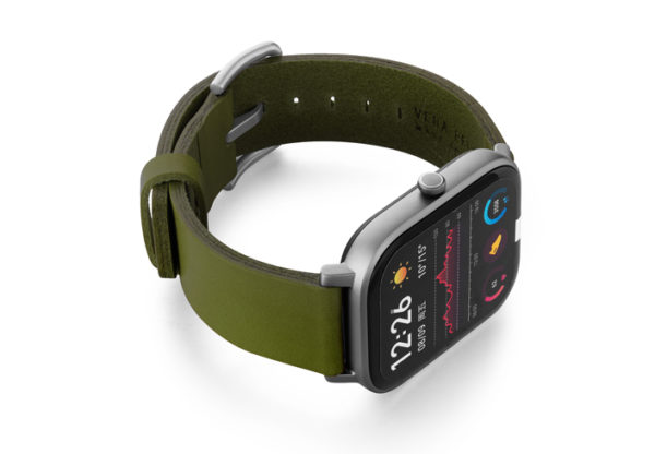 Amazfit-GTS-deep-leaf-clay-leather-band-with-displey-on-right