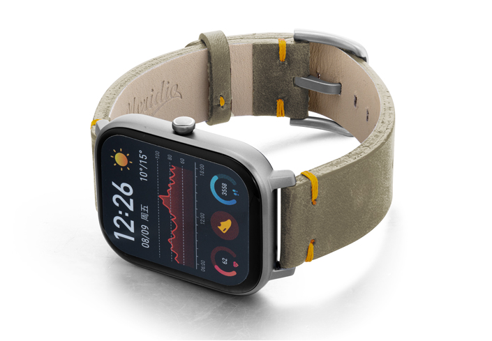 Amazfit-GTS-driedherb-vintage-leather-band-on-top
