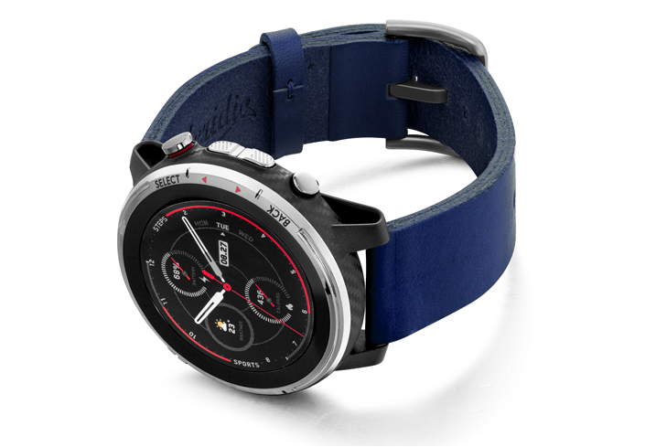 Amazfit-Stratos-blue-england-clay-leather-band-with-display-on-left