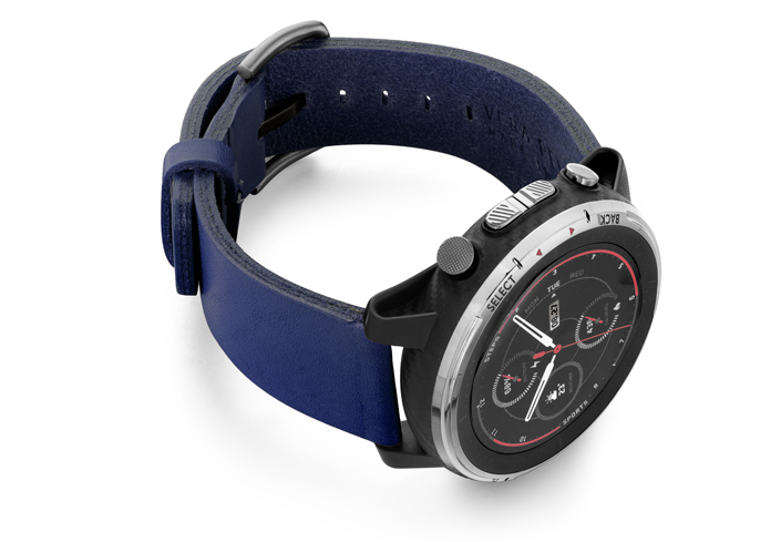 Amazfit-Stratos-blue-england-clay-leather-band-with-displey-on-right