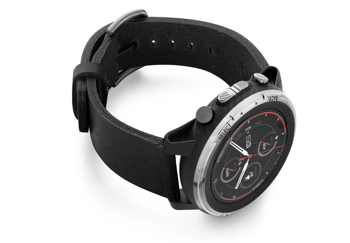 Amazfit-Stratos-cassel-BLACK-FULL-GRAIN-leather-band-with-displey-on-right
