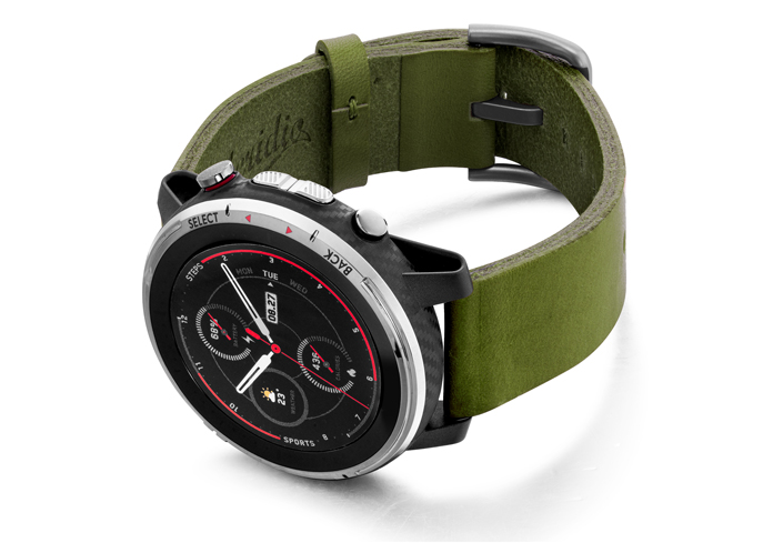 Amazfit-Stratos-deep-leaf-clay-leather-band-with-displey-on-left