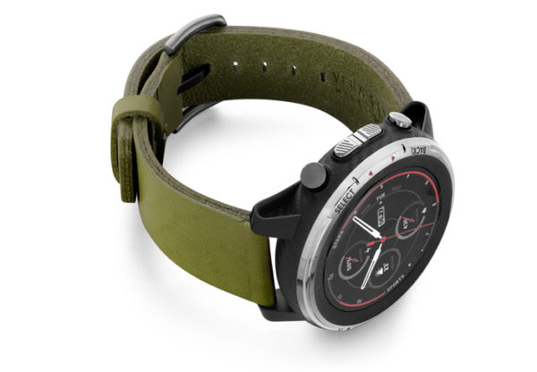 Amazfit-Stratos-deep-leaf-clay-leather-band-with-displey-on-right